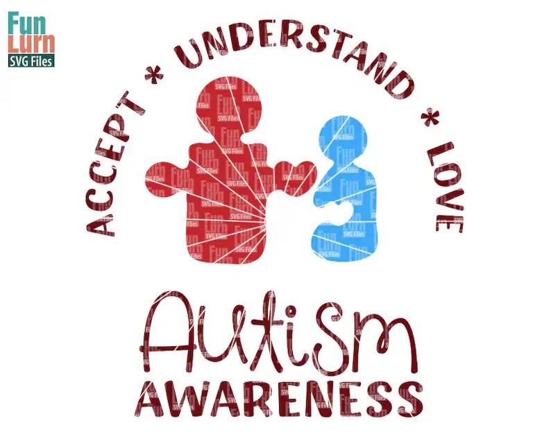 Download Autism Awareness SVG puzzle Autism Parent Child heart | Etsy