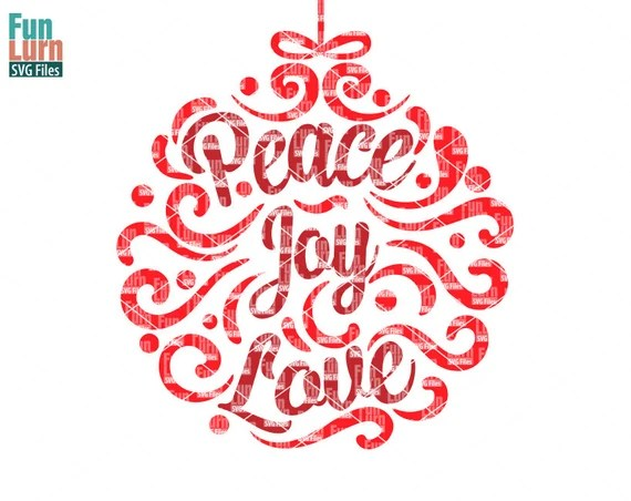 Download Peace Joy Love svg Ornamnent Christmas SVG leaf swirl | Etsy