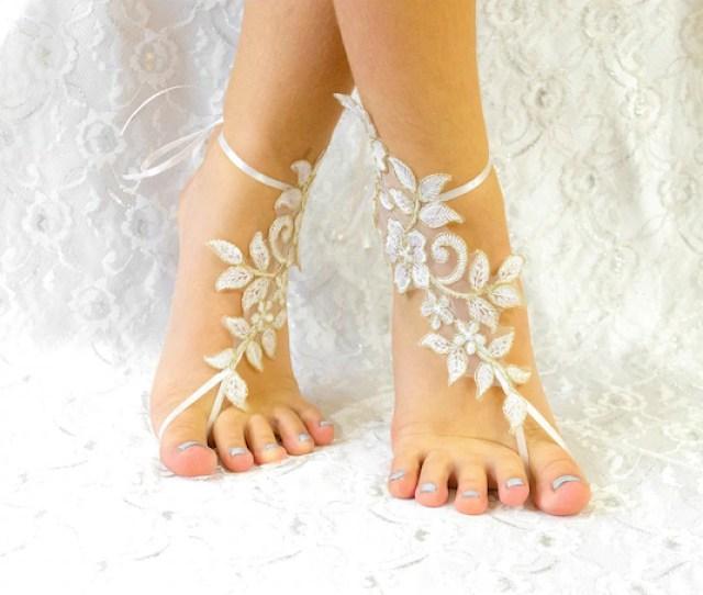 Ivory Beach Wedding Lace Barefoot Sandles Wedding Shoes Lace For Bride Beach Wedding Barefoot