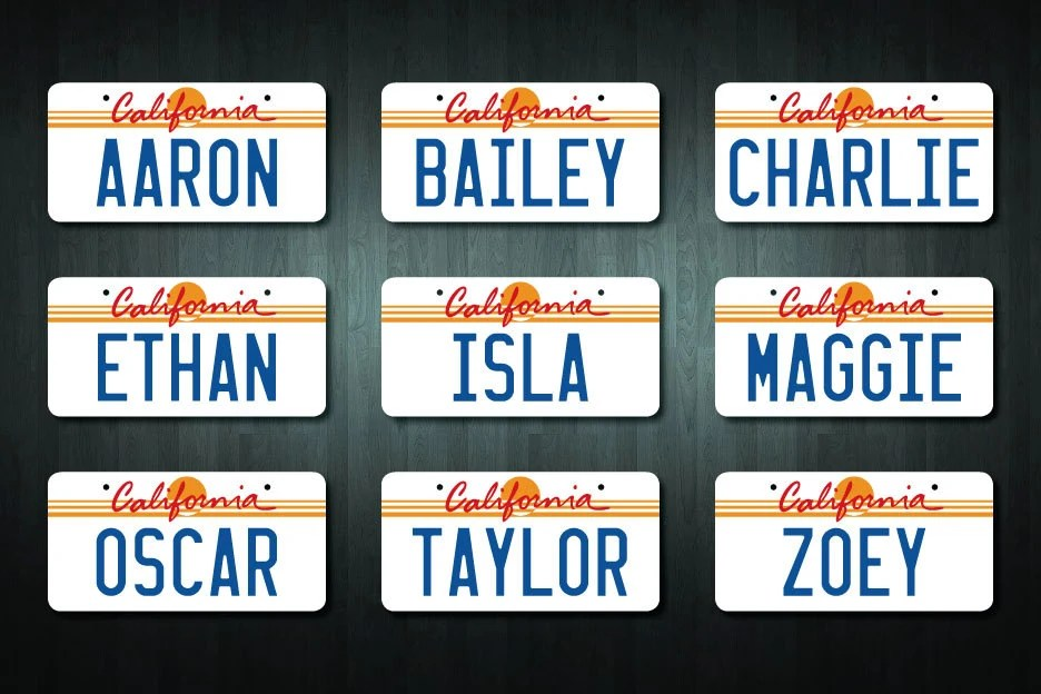 California Personalized Plate License List