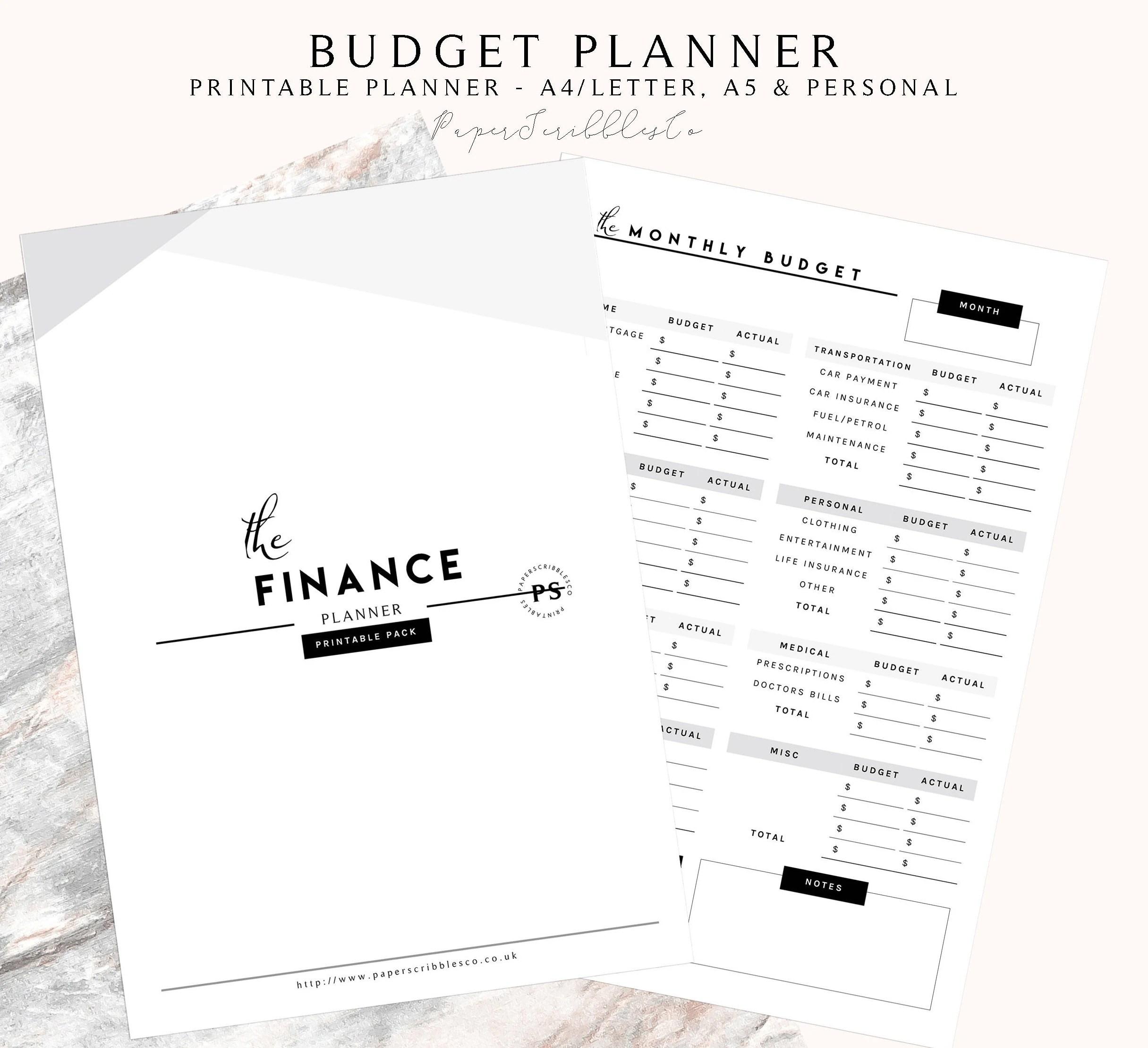 Printable Finance Planner Budget Planner Financial Planner