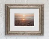Cape May Diamond Sunset Art Photograph, Tan Pastels Coastal Decor  Framed, Unframed / Beach Cape May Seascape Landscape Lucky Star Dreams