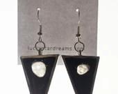 Moon Phase Drop Earrings - Translucent Quartz geometric modern Jersey Shore Sterling Silver lunar full moon earrings by Lucky Star Dreams
