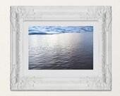 Abstract Sea Foam Sky, Minimalist Ocean Photography Fine Art Photo | Coastal Beach Art, Black White Blue Gray Shore Decor, Lucky Star Dreams