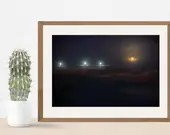 Supermoon in Aries at the Wildwood Crest Fishing Pier, Night Sky Full Moon housewarming coastal decor gift, Lucky Star Dreams