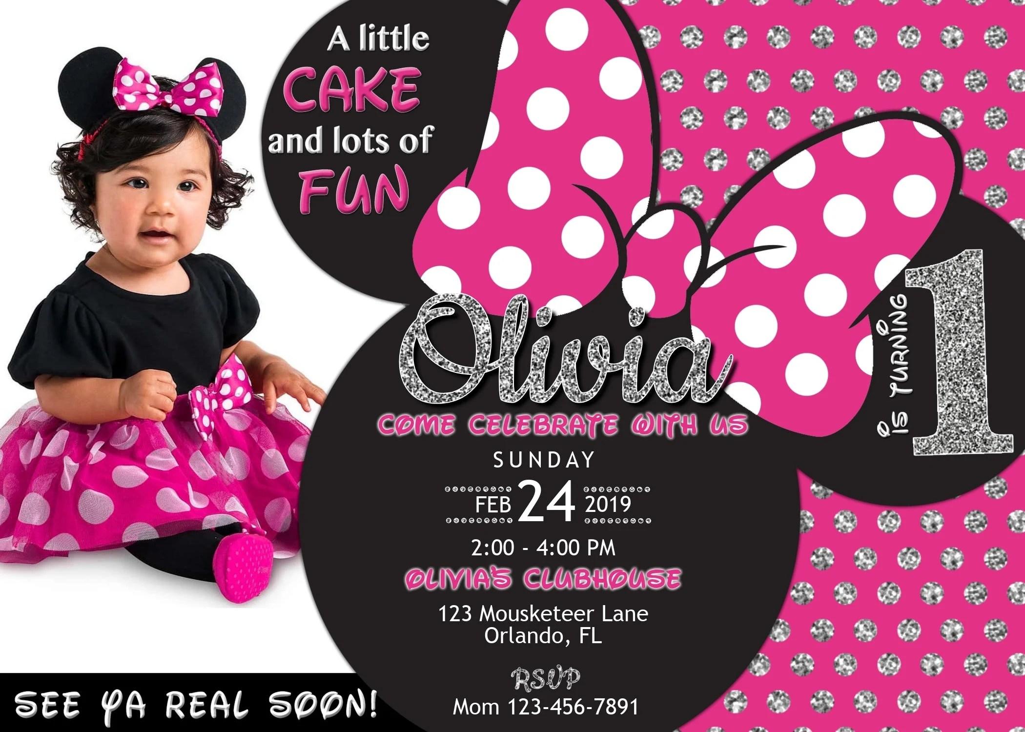 minnie mouse 1st birthday invitation with photo minnie first birthday 5x7 diy editable invite template printable birthday invitation corjl