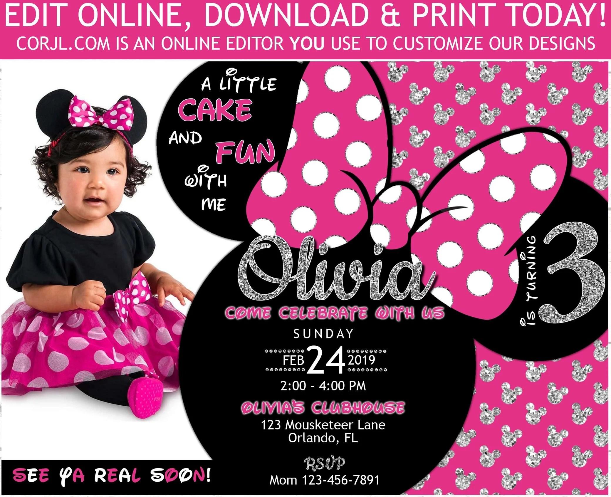 minnie mouse 3rd birthday invitation with photo minnie third birthday 5x7 diy editable invite template printable birthday invitation corjl