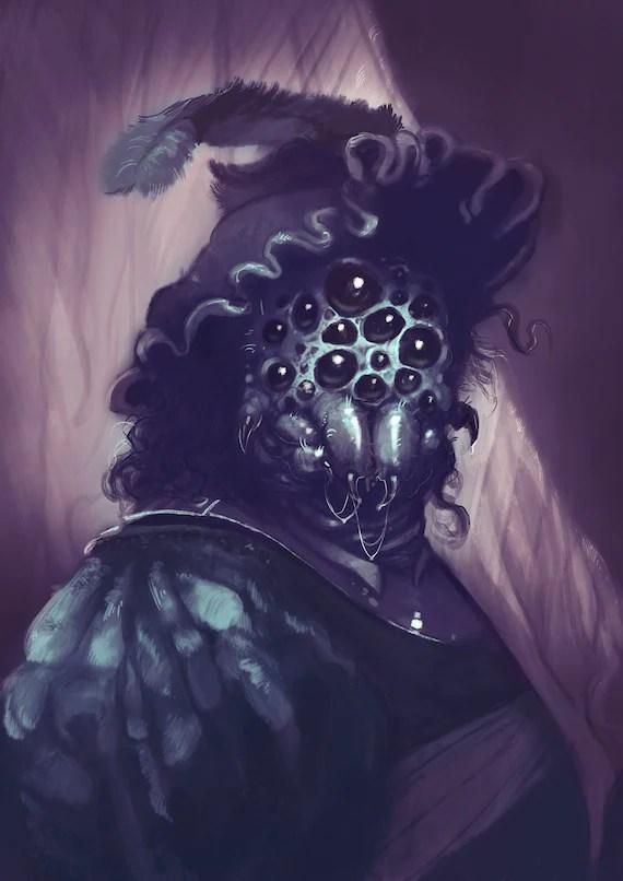 rembrandt atlach nacha h p lovecraft poster print dark horror portrait