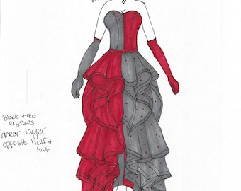 Harley quinn dress   Etsy Formal Harley Quinn Dress