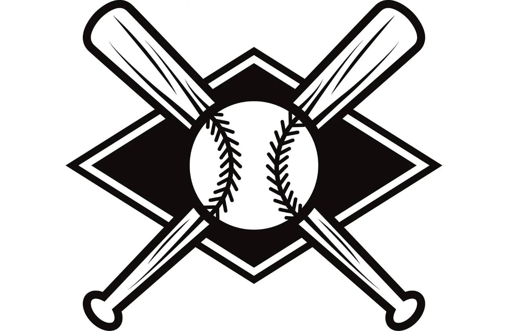 Baseball Logo 7 Bats Crossed Ball Diamond League Equipment