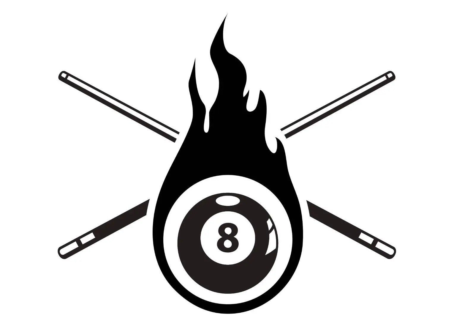 Billiards Pool Logo 1 Eight 8 Nine 9 Ball Stick Cue Sports