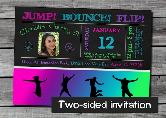 sky zone urban air double sided jump trampoline birthday party invitation in pink teal and purple