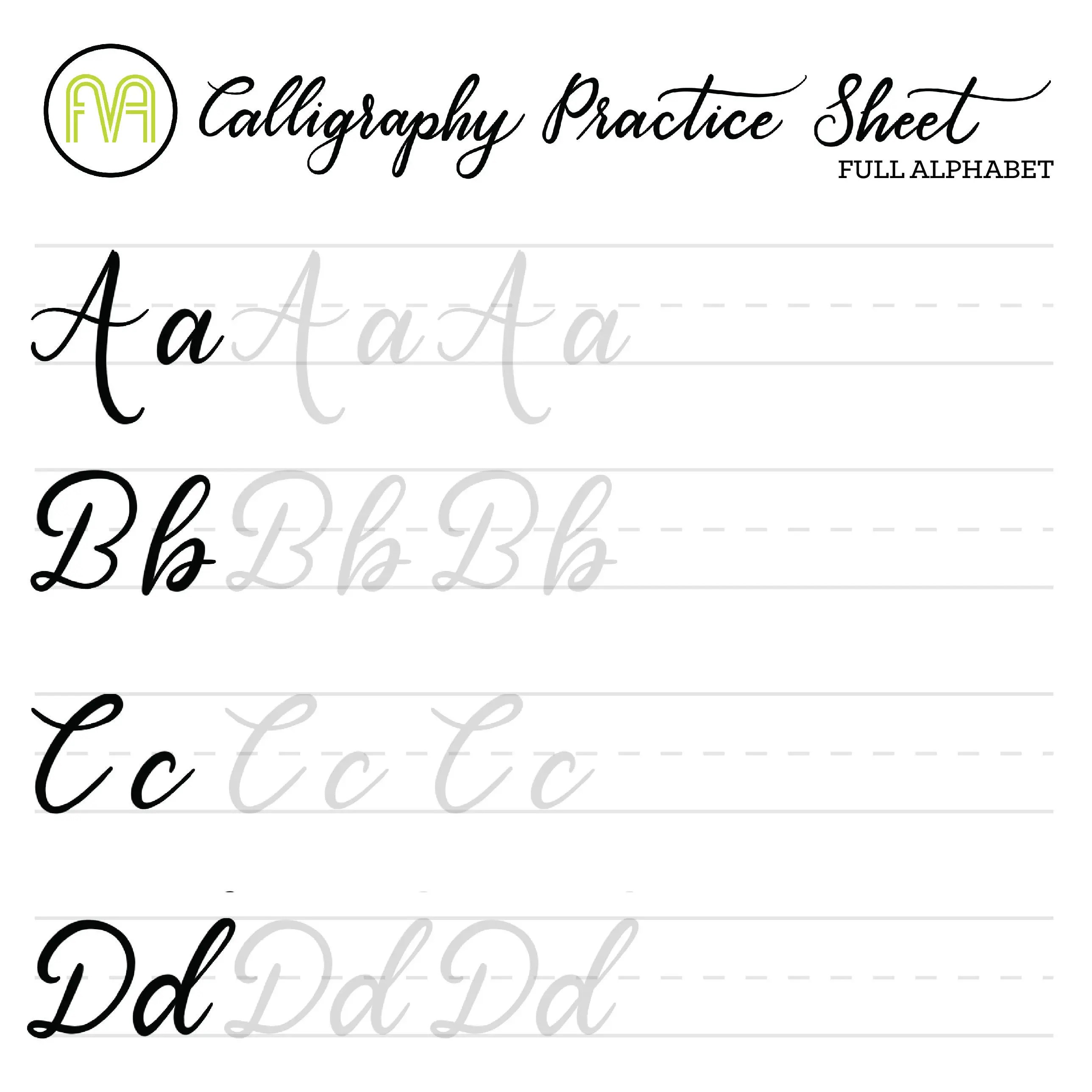 Calligraphy Practice Sheets Full Alphabet Lettering