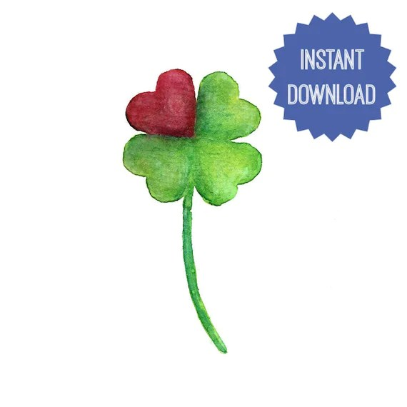 4 Leaf Clover Printable Watercolor Painting Clover Heart Art Etsy