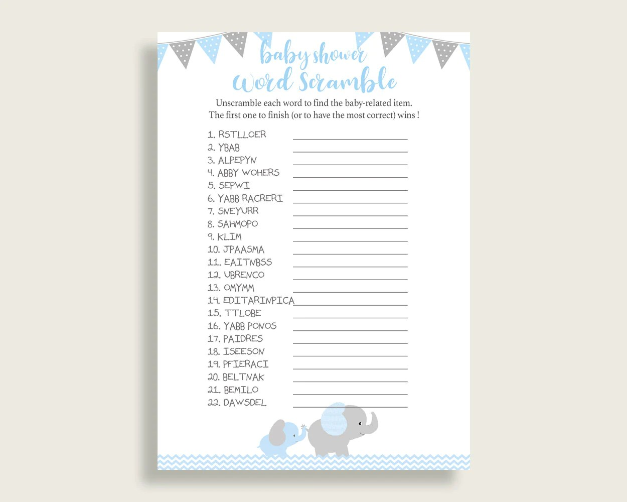 Boy Baby Shower Word Scramble Game Printable Cute Elephant