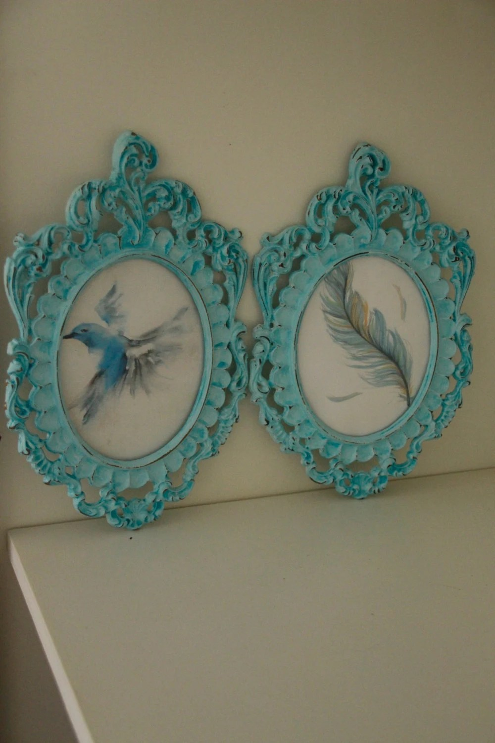 Set of 2 hand painted fra...