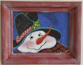 hand painted snowman black hat with hand painted frame