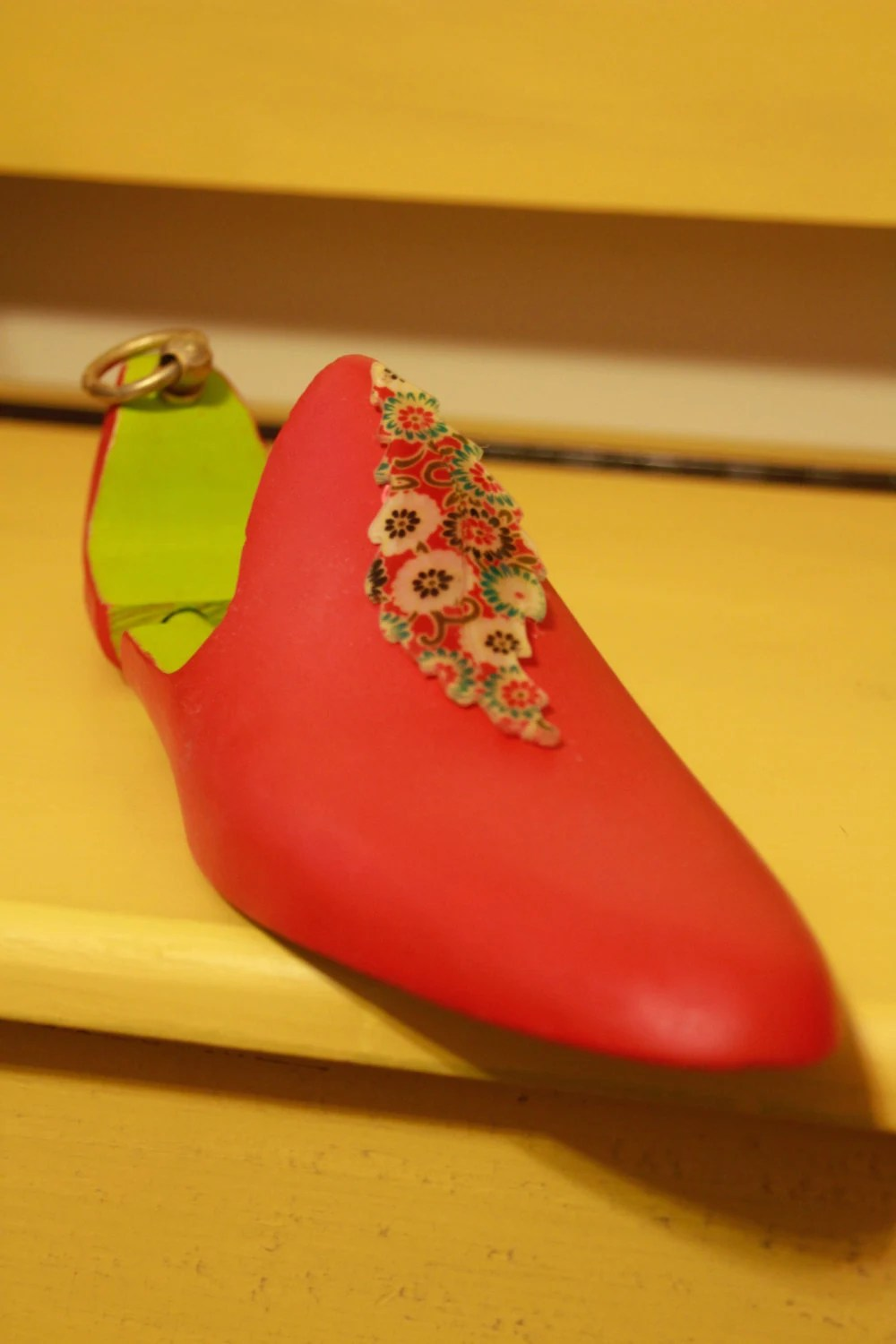 Hand painted wooden shoe ...