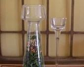 Glass candle holder set with moss accent