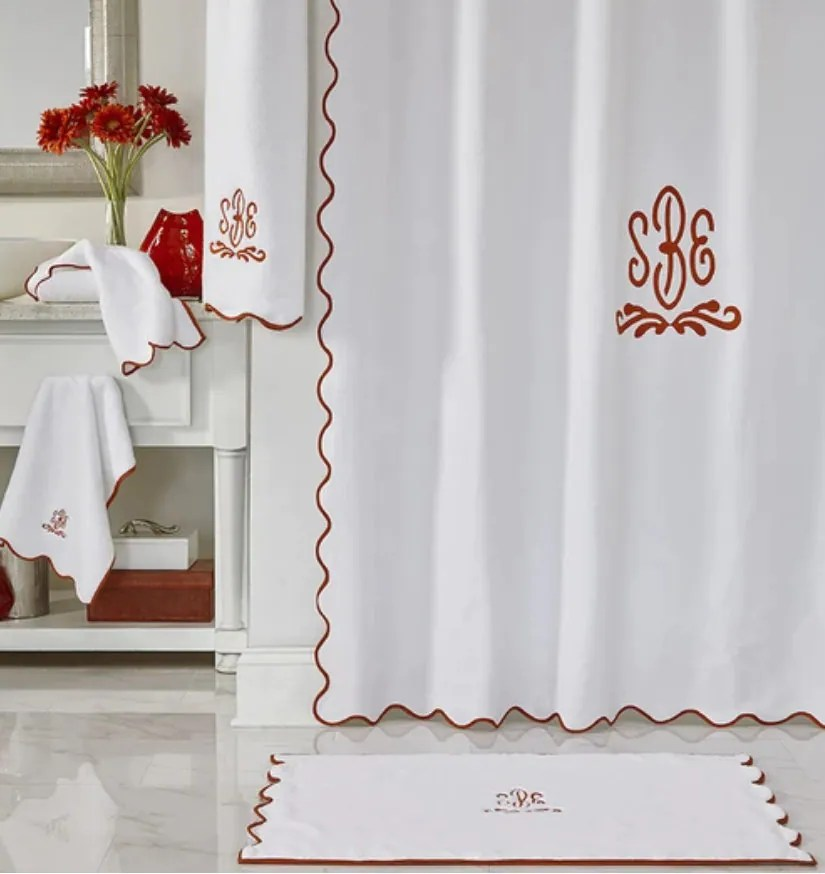 scallop shower curtain with monogram