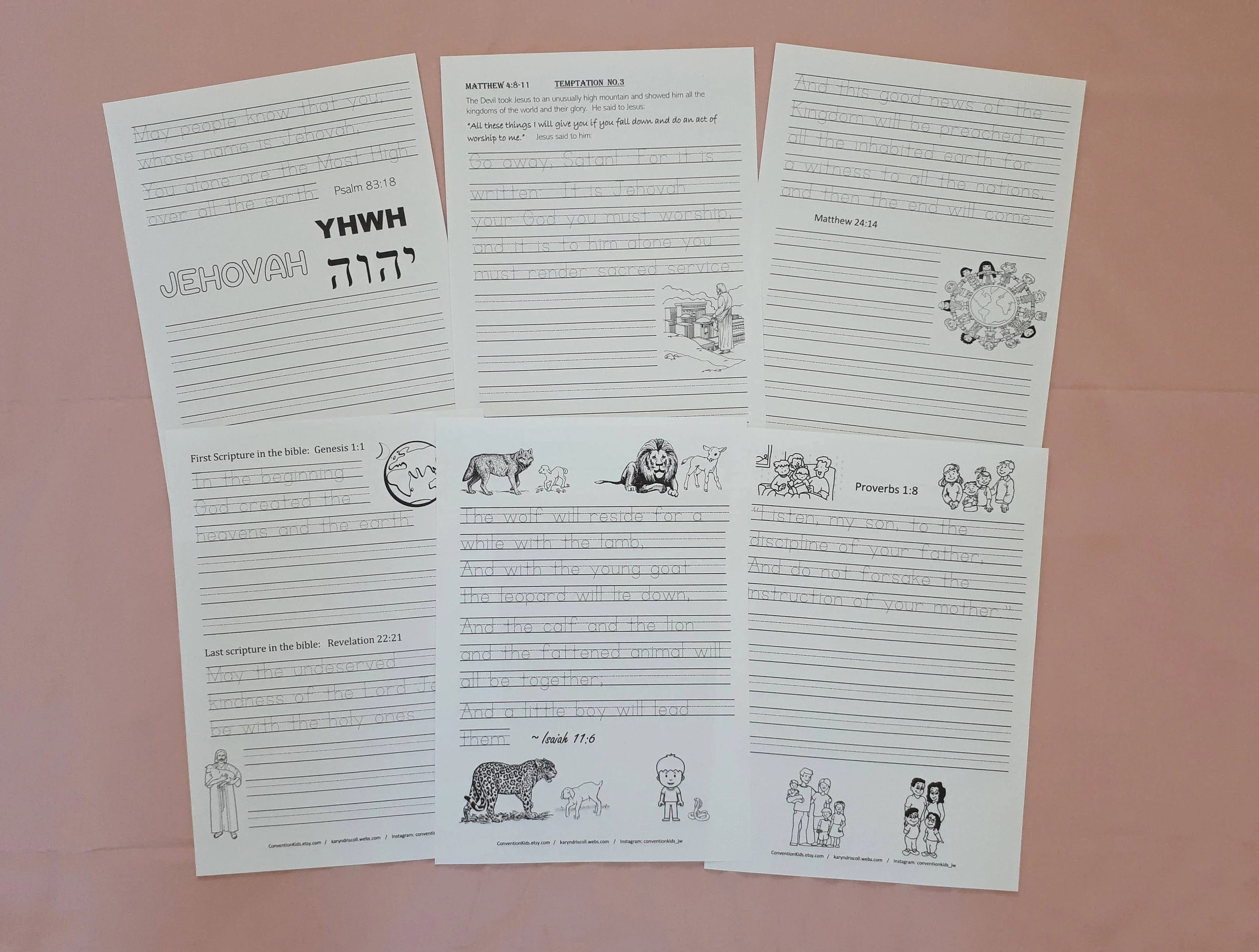 A3 Set Handwriting Scriptures Songs Amp Facts For Jw Children