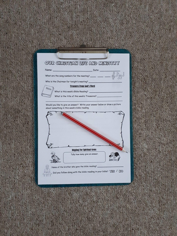 Ameeting Worksheet Amp Service Notes For Jw Children Kids
