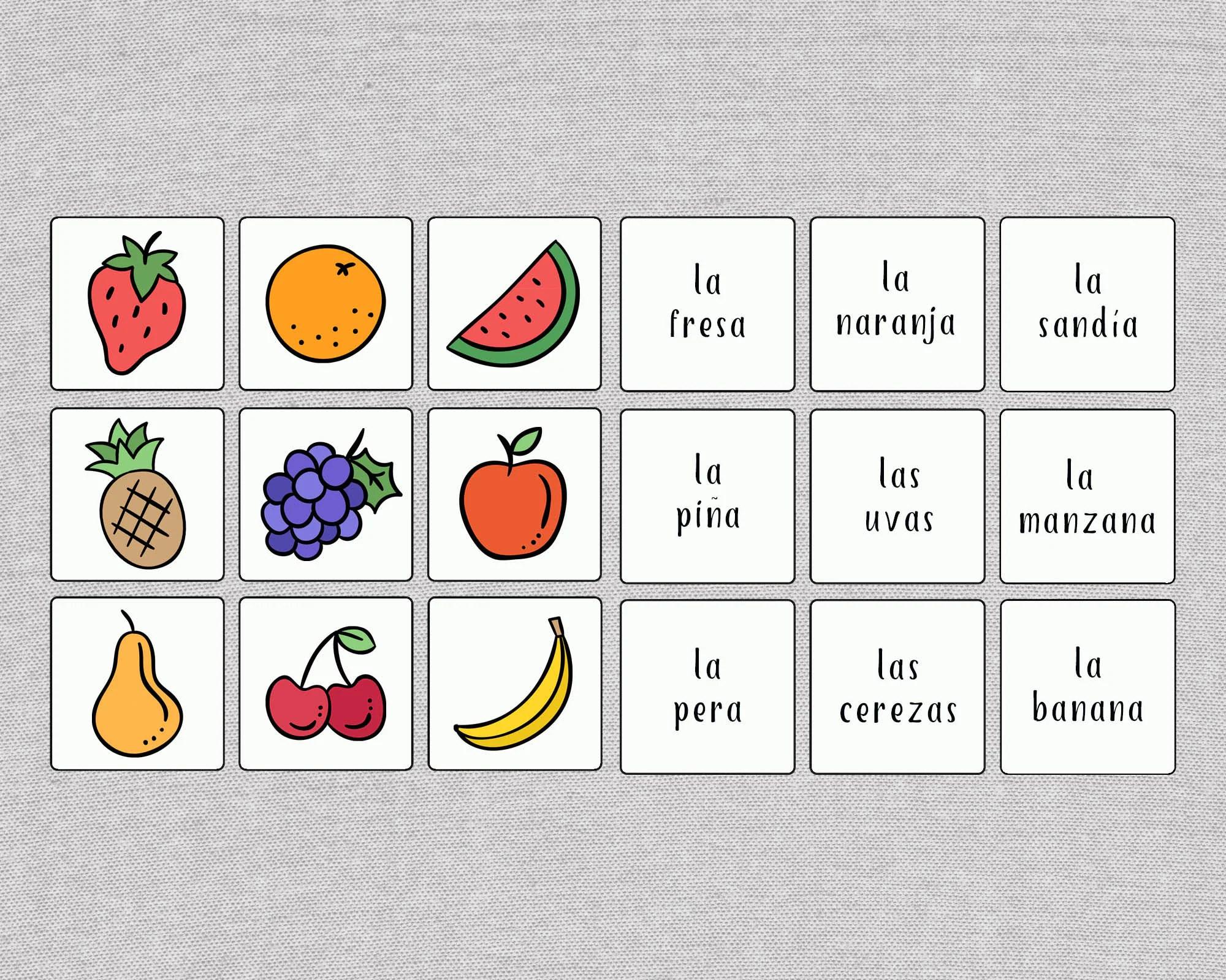 Spanish Fruits Matching Game Printable Spanish Memory Game
