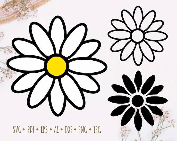 Download Daisy SVG Silhouette Cameo Cricut Cut File Simple flower ...