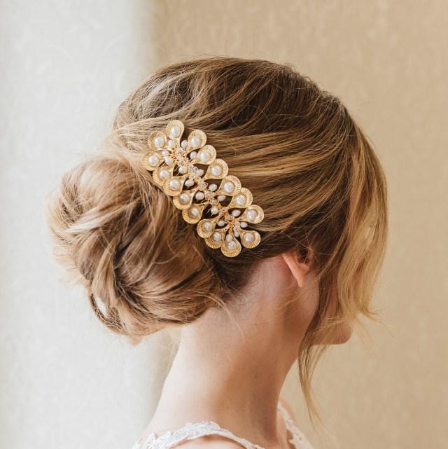 vintage bridal hair accessories, art deco bridal headpiece, bridal back comb, gold vintage headpiece, 1920s wedding headpiece, hair comb