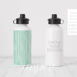 Double Water Bottle Mockup Comparision Psd Smart Object Etsy