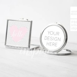 Silver Square And Round Compact Makeup Mirror Mockup For Etsy