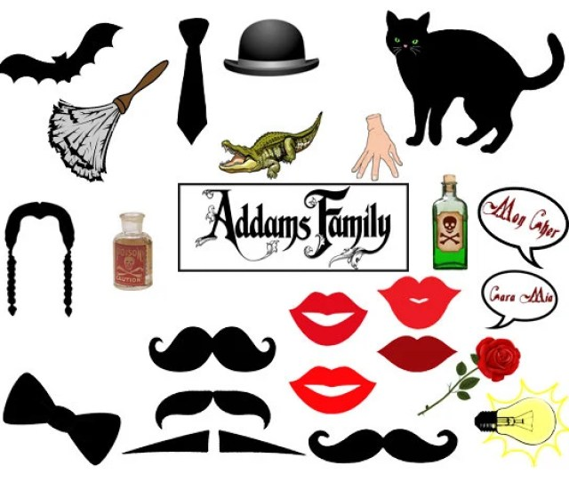 Addams Family Photo Booth Prop Set Of