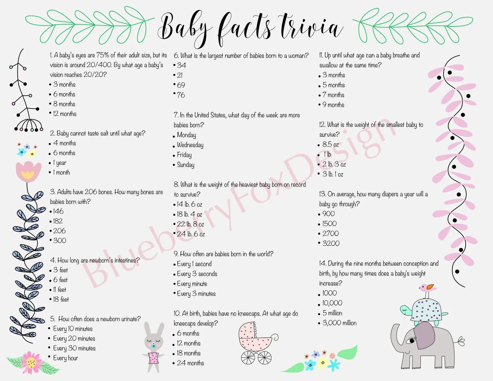 Baby Shower Game Baby Facts Trivia Printable Instant
