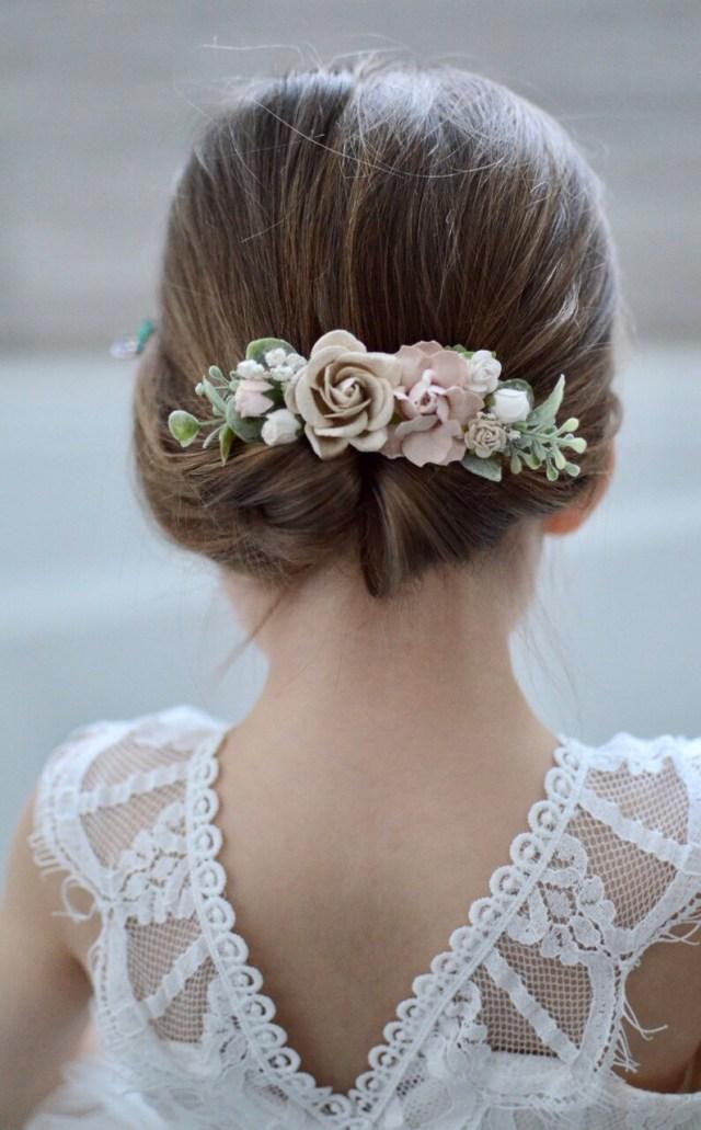 flower girl hair clip, first communion hair accessories, bridal hair clip, wedding hair clip, floral clip, flower crown, blush champagne
