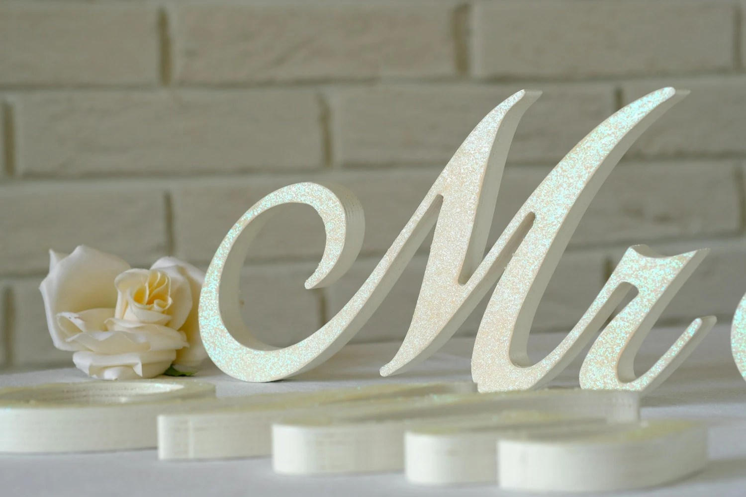 Wooden Letters Mr & Mrs IVORY Glitter Mr Mrs Wedding Signs
