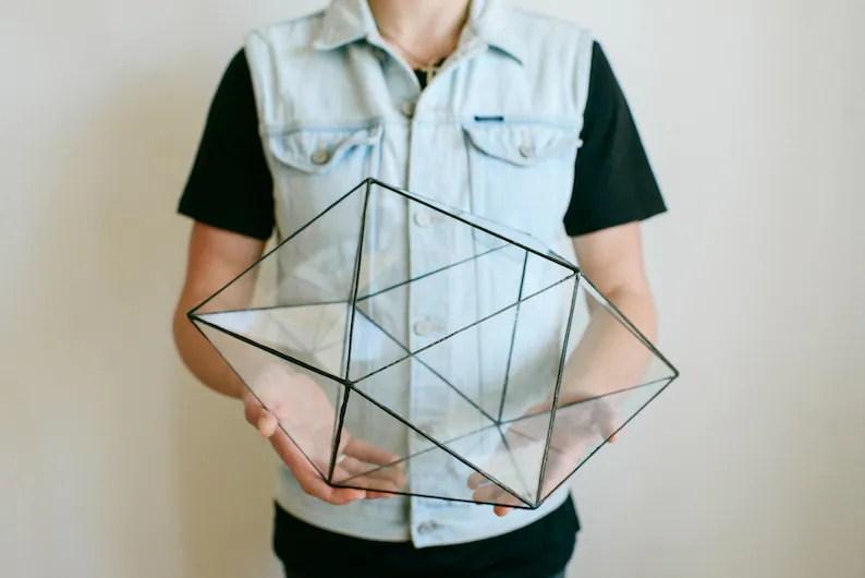 Large Glass Terrarium  Handmade Geometric Terrarium  Glass image 0