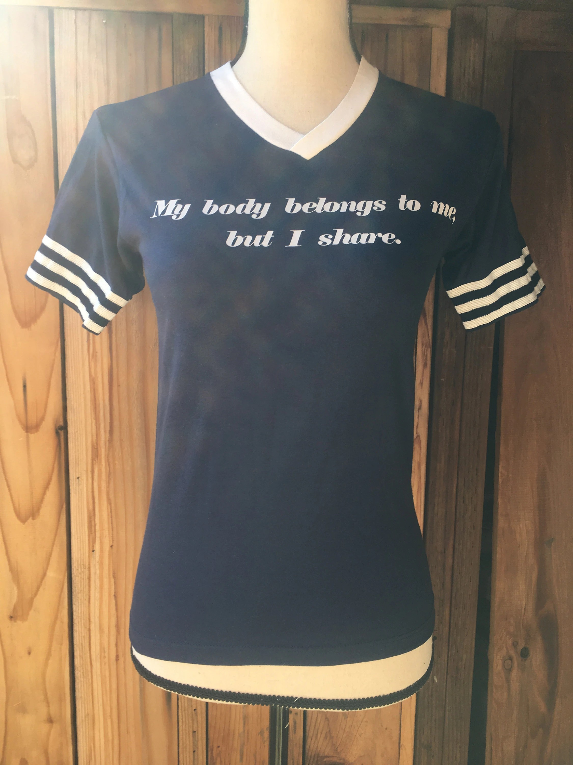 My Body Belongs To Me But I Share Vintage S Navy Blue