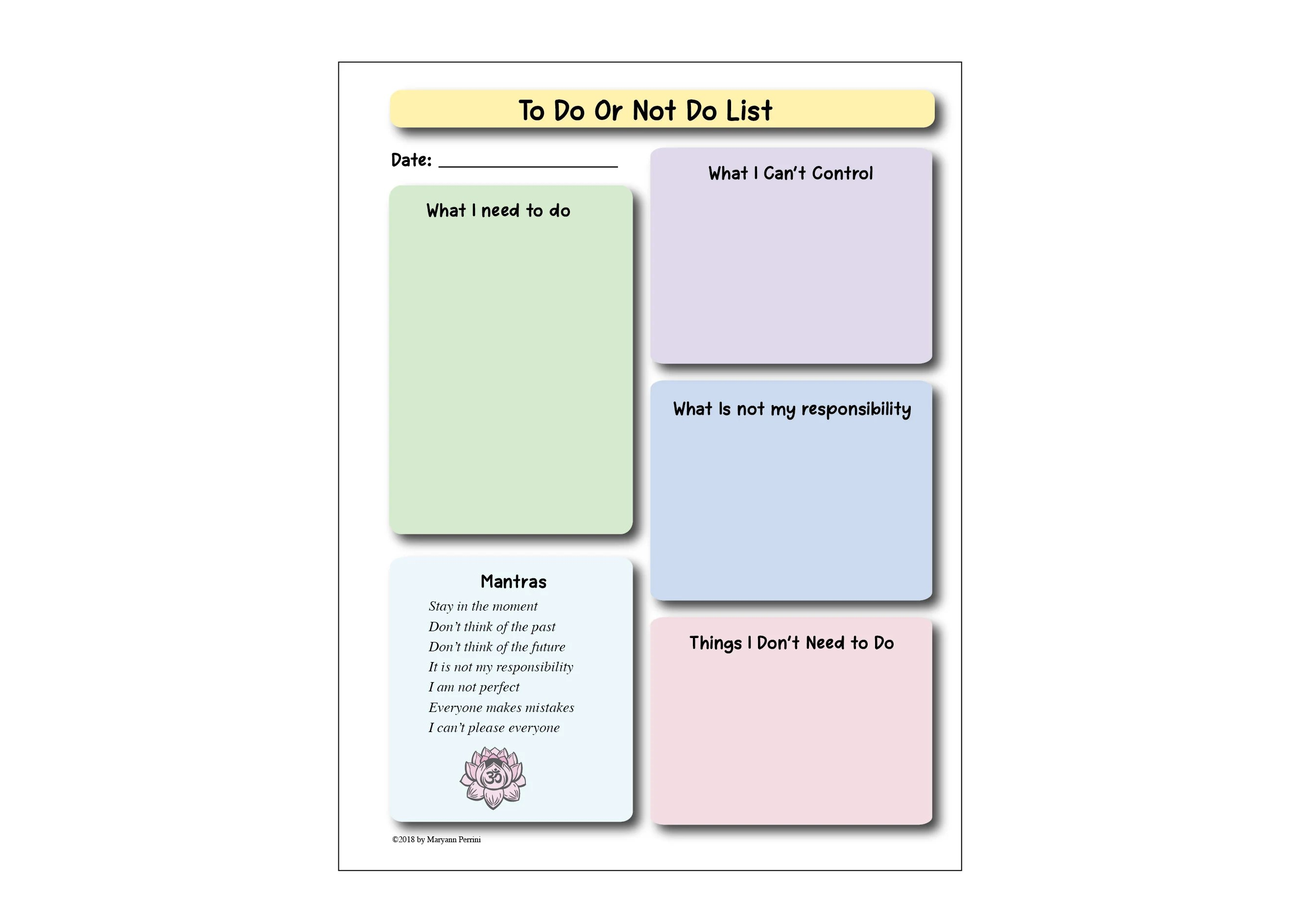 Printable Anxiety Reduction Stress Management Journal Page