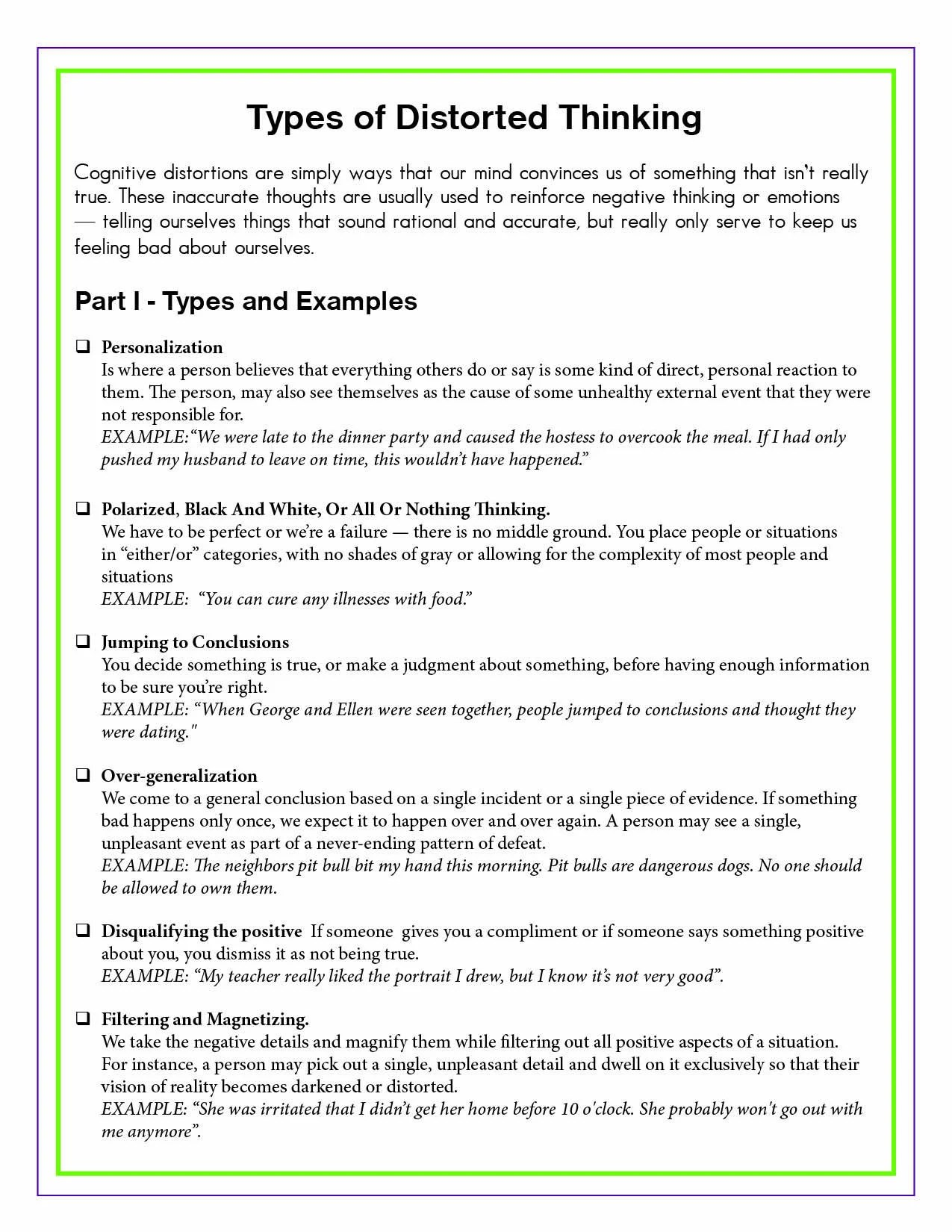4 Page Distorted To Realistic Thinking Printable Worksheet