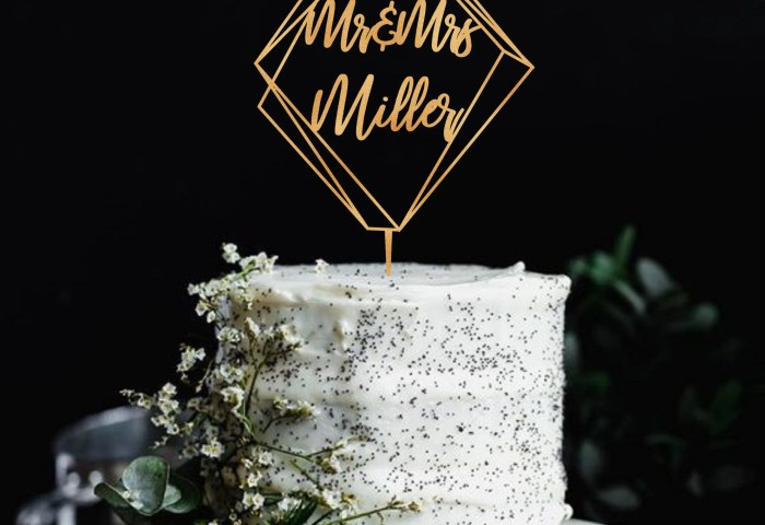 Geometric Cake Topper Modern Wedding Cake Topper Mr End Mrs Etsy