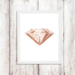 Glam Decor Diamond Rose Gold Wall Art Nursery Digital