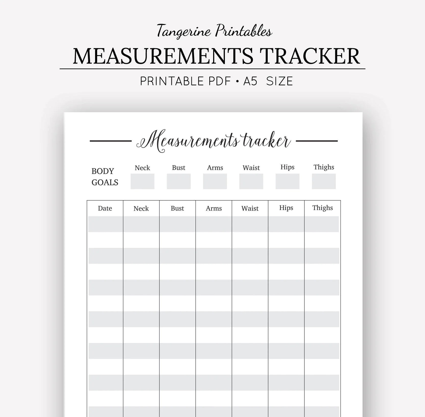 Measurement Tracker Printable Planner A5 Printables Body