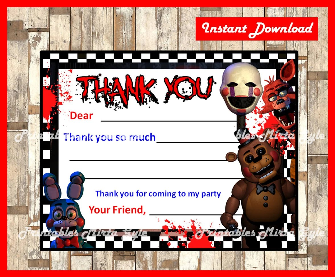 five nights at freddys cards fnaf thank you tags instant download printable five nights at freddy s party thank you note