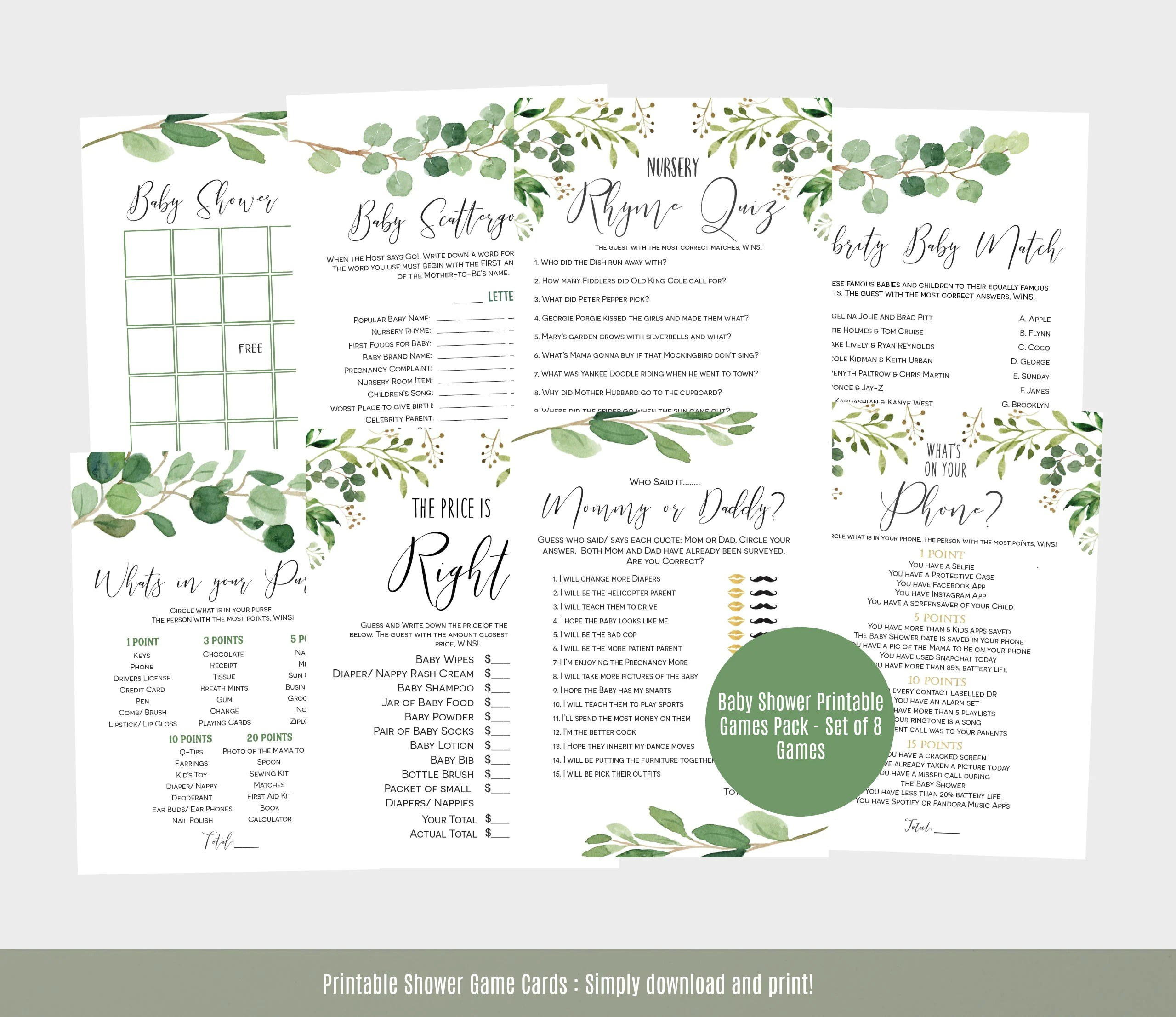 Baby Shower Games Template Greenery Baby Shower Game Cards
