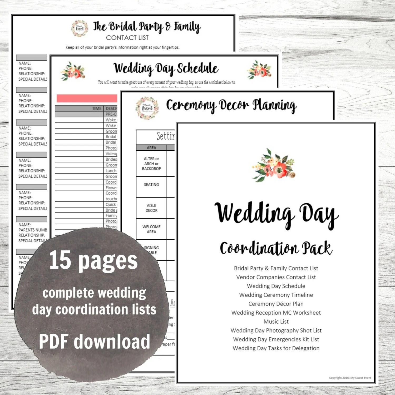 Wedding Day Coordination Worksheet Lists Wedding