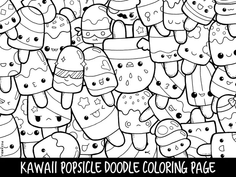 popsicle doodle coloring page printable cute/kawaii