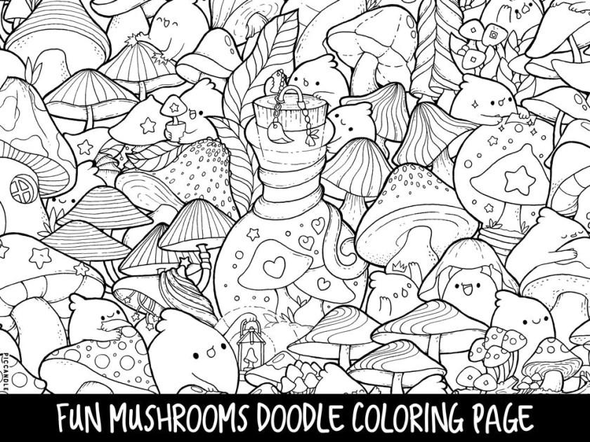 mushrooms doodle coloring page printable cute/kawaii  etsy