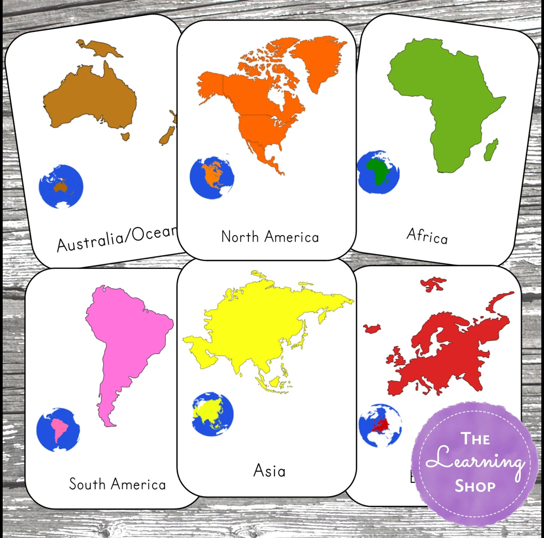 Montessori Continent And Definition Cards