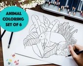 Set of 6 Printable Animal Colouring Pages in hand drawn style, Instant download A4/letter Colouring Pages, Adult & kids Colouring