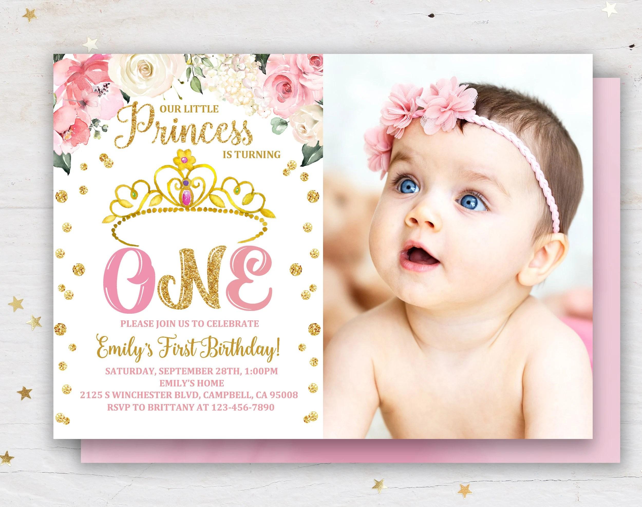 1st birthday princess invitation etsy